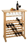 24-Bottle Wine Rack with Stemware holder-Beech