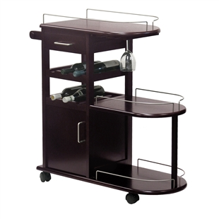 24 Wine Bottle Entertainment cart in dark espresso wood