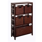 4 shelf bookcase with five wicker baskets in espresso