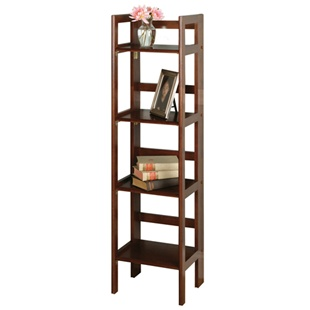 Winsome wood tall folding bookcase with four shelves in antique walnut