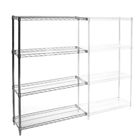 "12""d x 24""w Chrome Wire Shelving Add On Unit with Four Shelves"