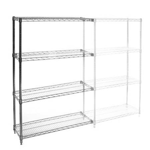 "SI 12""d x 36""w Chrome Wire Shelving Add On Unit with Four Shelves"