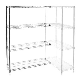 "18""d x 18""w Chrome Wire Shelving Add On Unit with Four Shelves"