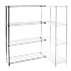 "24""d x 24""w Chrome Wire Shelving Add On Unit with Four Shelves"