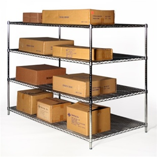 "36""d x 72""w Chrome Wire Shelving Unit with 4 Shelves"