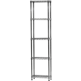 "Chrome Wire Shelving Unit with 5 Shelves - 8""d x 18""w x 96""h"