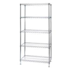 "Chrome Wire Shelving Unit with 5 Shelves - 12""d x 12""w x 96""h"