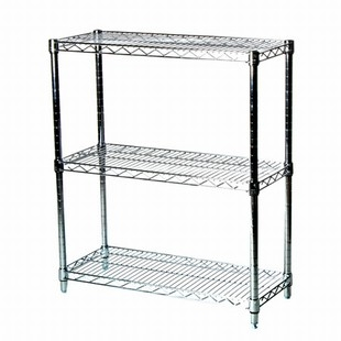 "SI 12""d x 36""w x 34""h Mini Chrome Wire Shelving Unit with 3 Shelves"