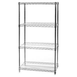 "18""d x 30""w Wire Shelving Unit with 4 Shelves"