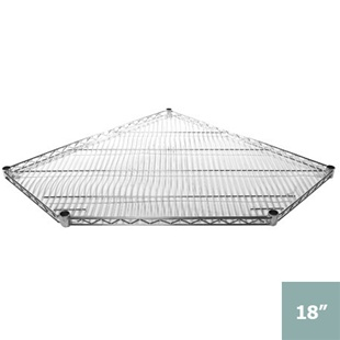 "SI 18"" x 27"" Chrome Wire Pentagon Shelf"