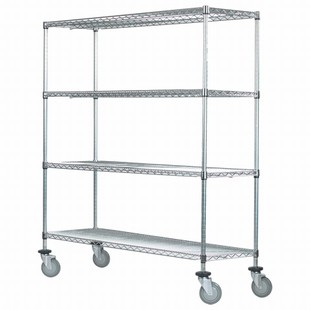 "SI 24""d x 48""w Chrome Wire Mobile Unit"