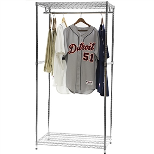 Freestanding Garment Rack w/ 2 shelves