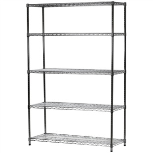 "Chrome Wire Shelving Unit with 5 Shelves - 18""d x 48""w x 84""h"