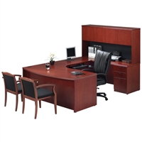 Pacific Coast Desk Wood Veneer Bow-Front U-Unit