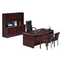 Pacific Coast Desk Wood Veneer Freestanding Desk and Credenza