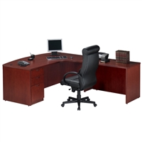Pacific Coast Desk Wood Veneer Bow-Front L-Unit