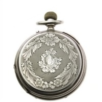 Large Silver Watch Case with Guilloche and Shield.