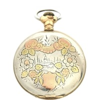 Extraordinary, Gorgeous Fine Silver  Antique Pocket Watch Decorated with Rose and Green Gold