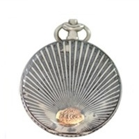Rare Antique Sterling French Niello Case w/ Rose Gold Sunburst
