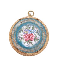 Antique French Brass Ormolu and Enamel Compact w/ hand-painted roses, cobalt and green enamel border.