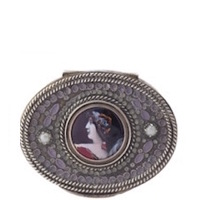 Oval 1880's French Limoges Enamel Portrait Bronze Compact