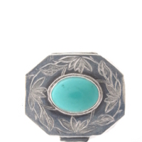 Victorian Banded Agate and .800 Silver Snuff Box