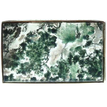 Stunning Engraved Brass Moss Agate Box