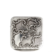 Antique Solid Silver Patch Box with Deep Scalloped Repoussé Motif