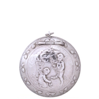 Sterling Silver Antique Patch Box with Exquisite Cherub Scene