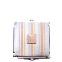 Antique Art Deco Sterling Silver Small Compact with 14K Rose Gold and Yellow Gold Stripes (NEW)