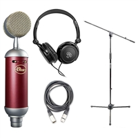 Blue Spark Microphone Bundle with Mic Boom Stand, XLR Cable and Studio Headphones, BLUSPARK-BUNDLE-2, SPARK
