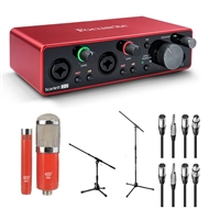 Focusrite Scarlett 2i2 Recording PodCast Interface Microphones Package, FOCSCARLETT2I2USB-BUNDLE-1, SCARLETT2I2USB