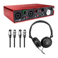 Focusrite Scarlett 2i4 Package with Headphones and XLR Cables, FOCSCARLETT2I4USB-Bundle-2, SCARLETT2I4USB