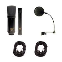 MXL 440/441 Recording Ensemble Microphone Pack with Pop Filter and 2 XLR Cables, MXL440/441-BUNDLE-1, 440/441
