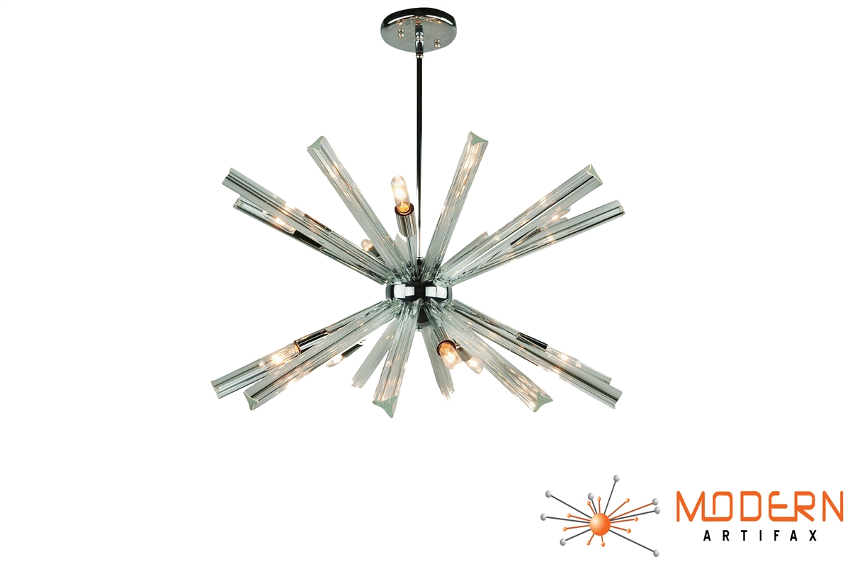 Sputnik chandelier chrome 27 in diameter with 20 crystal prisms alternative views mozeypictures Image collections
