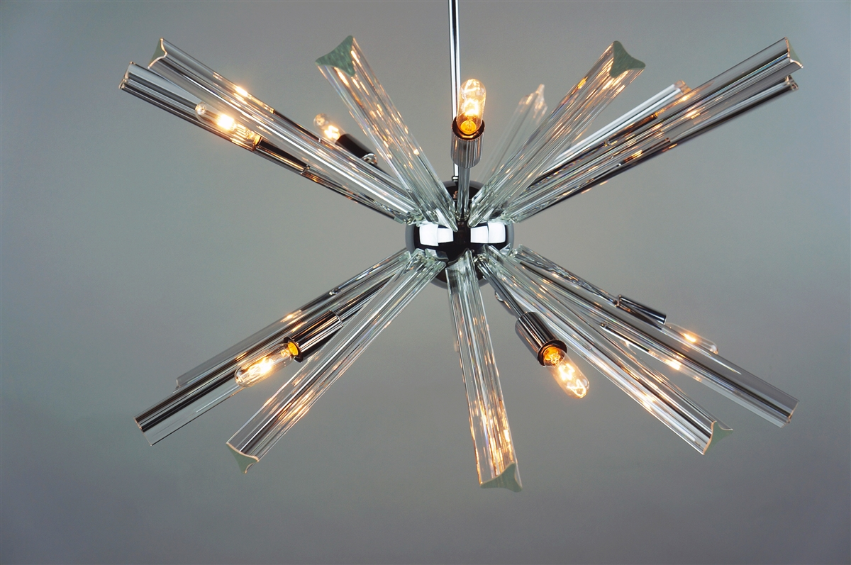 Sputnik chandelier chrome 27 in diameter with 20 crystal prisms have mozeypictures Gallery
