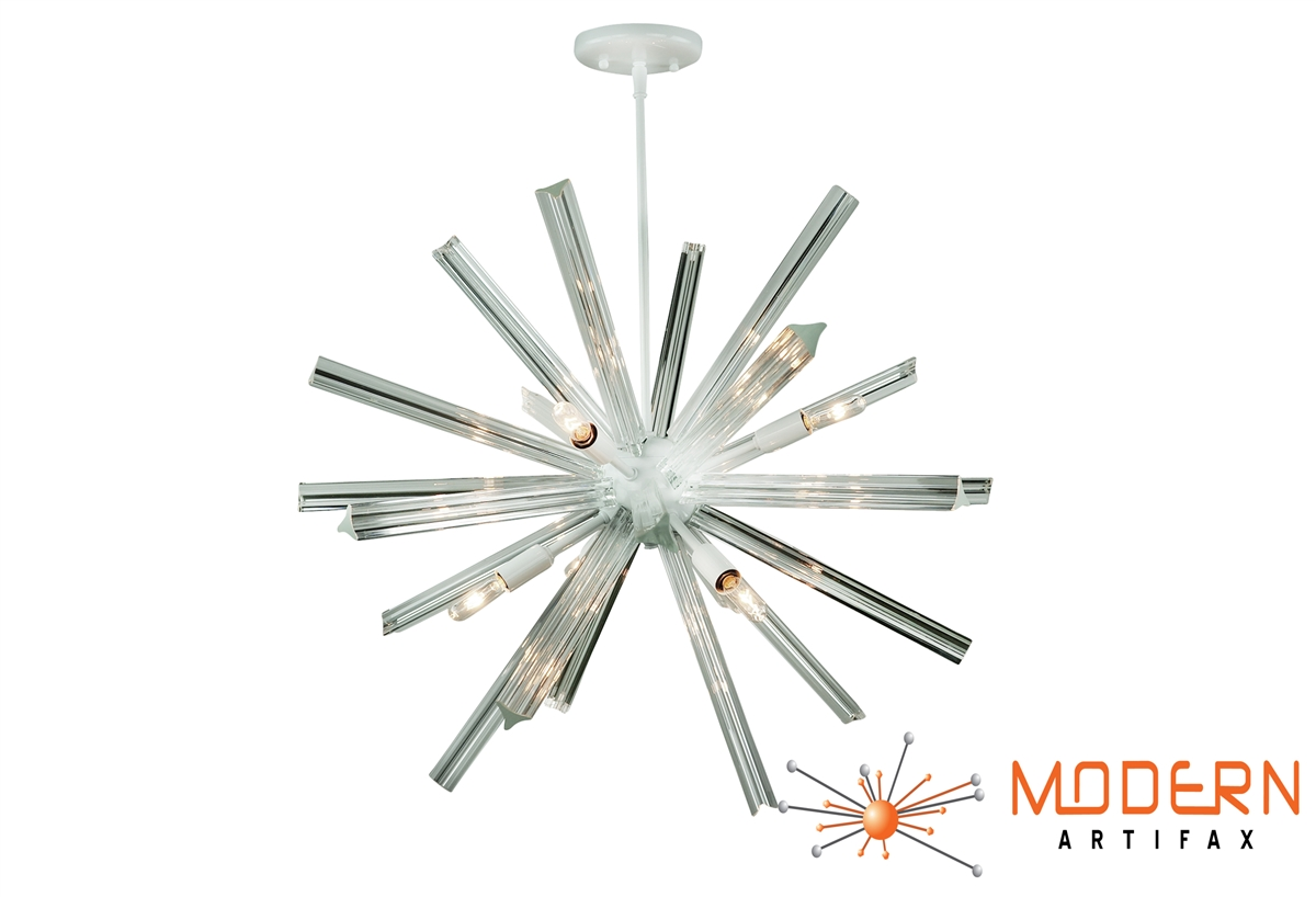 Sputnik chandelier white finish 27 in diameter with 24 crystal alternative views mozeypictures Image collections