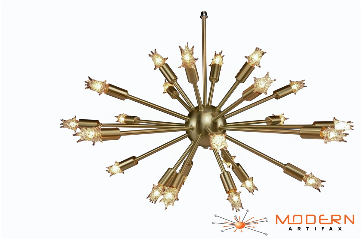 light products brass annunciation raw or chrome the sputnik chandelier