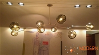 Branching Bubble chandelier with Satin Brass Finish