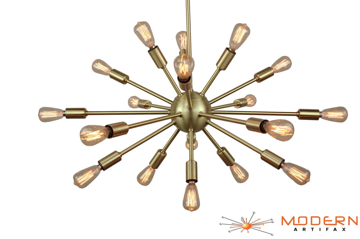 Sputnik chandelier brushed brass 24 inches in diameter with 18 arms alternative views arubaitofo Gallery