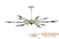 "Brushed Brass Sputnik Chandelier 34"" 18 Arms"