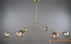 "Branching Bubble Solid Brass Fixture with Satin Finish and 6"" Clear Glass Globes"