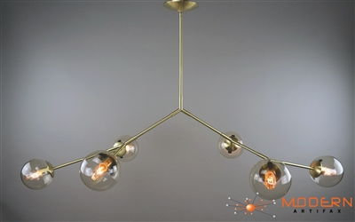 "Branching  Solid Brass Fixture with Satin Finish and 6"" Clear Bubble shaped Glass Globes"