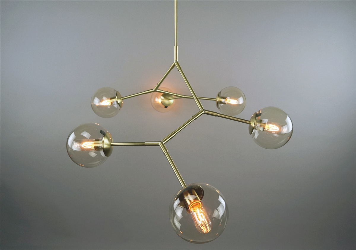 Branching bubble solid brass fixture with satin finish and 6 clear our aloadofball Choice Image
