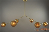"Branching Chandelier  Solid Brass Fixture with Satin Finish and 6"" Hand Blown Amber Vintage Crackle Glass Globes"