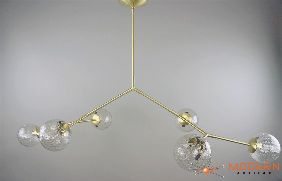 branching bubble solid brass fixture with satin finish and 6 hand blown amber vintage crackle bubble hand blown glass