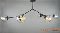 Branching Chandelier Flat Black Finish Fixture Light Smoke Glass Globes