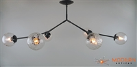 Branching Bubble Fixture Flat Black Finish Vintage Crackle Globes