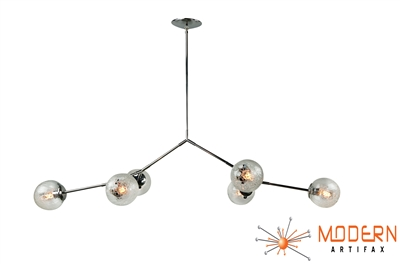Branching Stainless Steel Chandelier with Vintage Crackle Globes