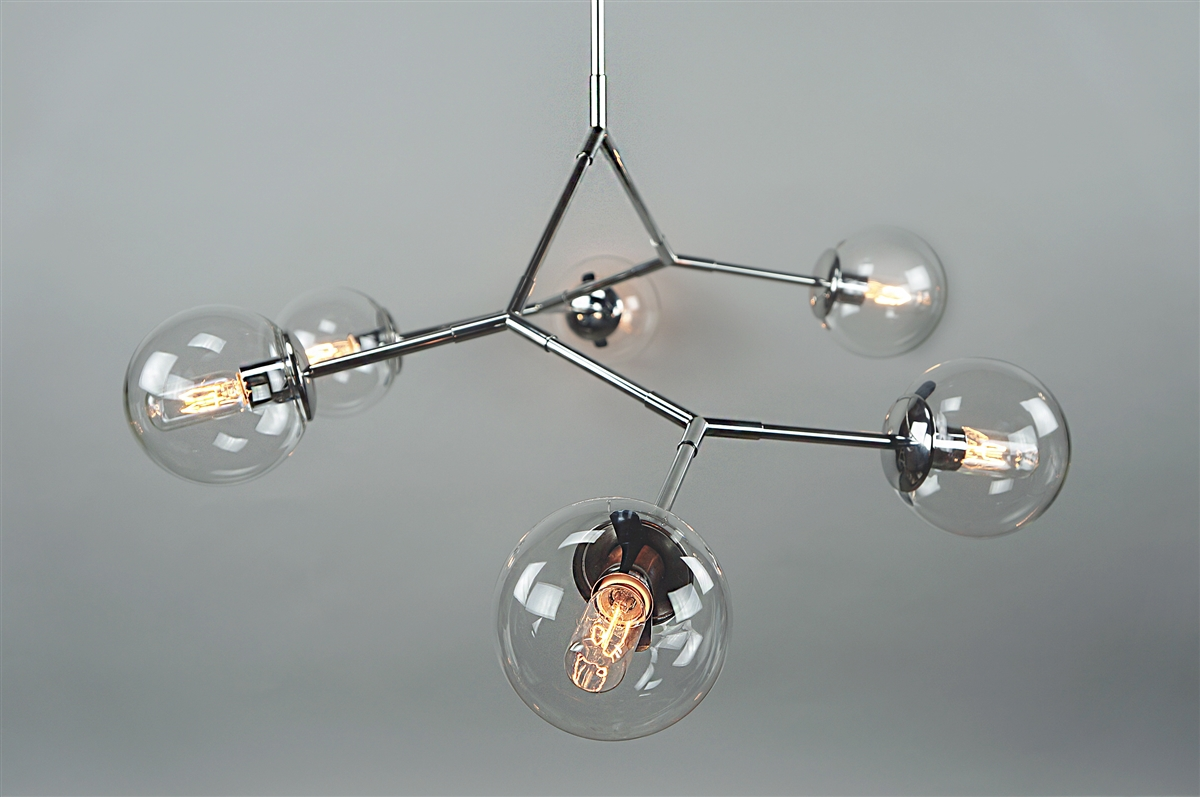 Branching bubble stainless steel fixture with clear round glass globes have aloadofball Image collections